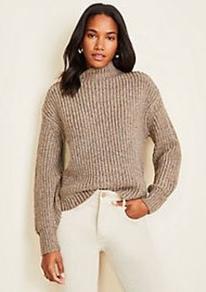 Ann Taylor Shimmer Ribbed Mock Neck Sweater