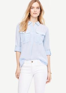 Ann Taylor Shimmer Safari Button Down Shirt