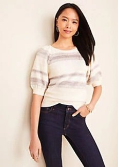 Ann Taylor Shimmer Stripe Puff Sleeve Sweater