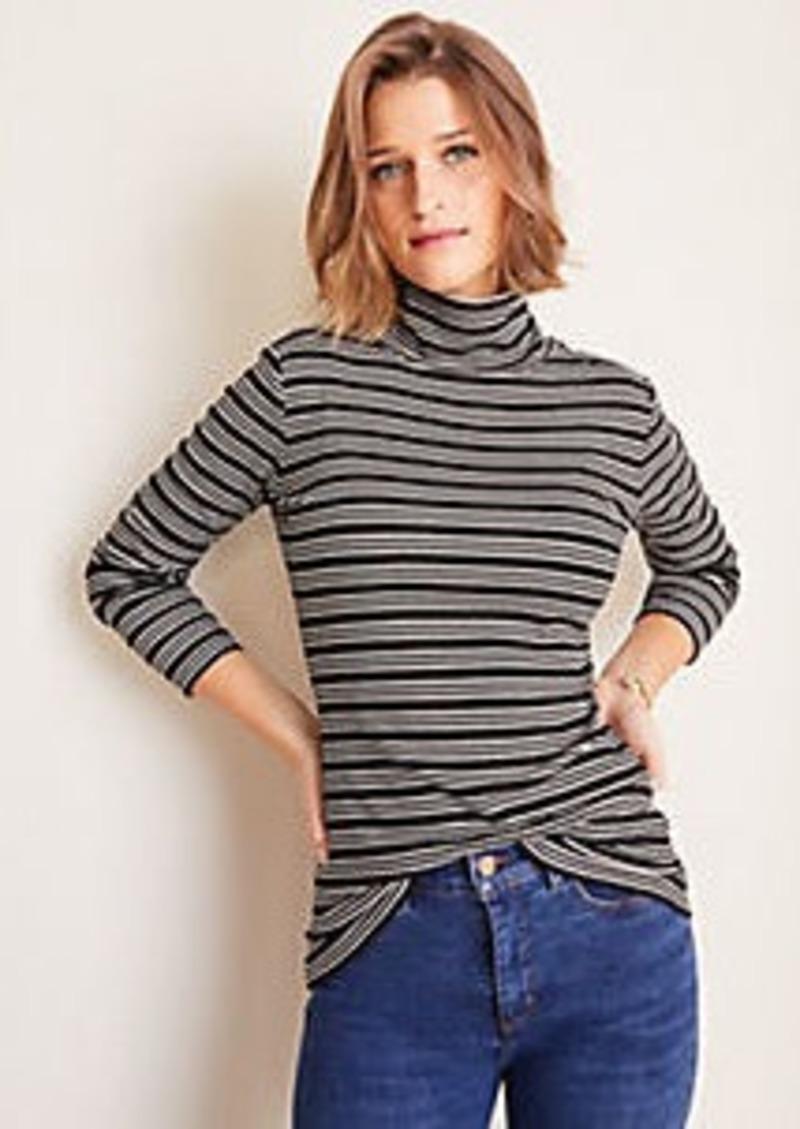 Ann Taylor Shimmer Stripe Ribbed Turtleneck Top