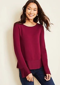 Ann Taylor Shimmer Trim Flare Sleeve Sweater