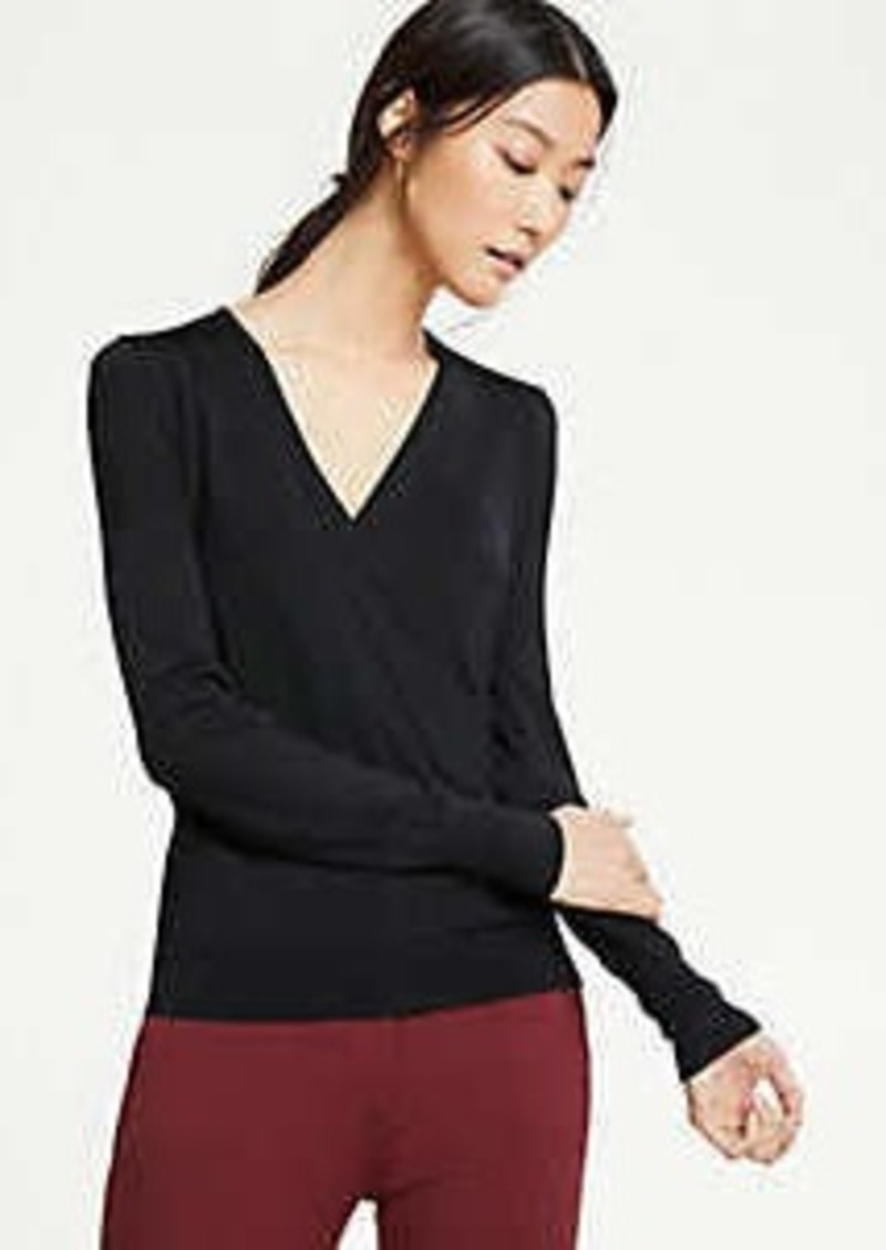 Ann Taylor Shimmer Trim Wrap Sweater
