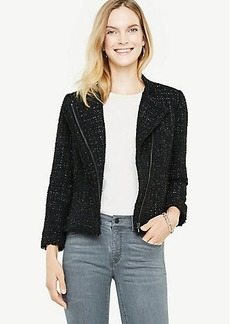 Ann Taylor Shimmer Tweed Moto Jacket