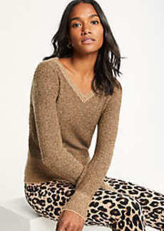 Ann Taylor Shimmer V-Neck Sweater