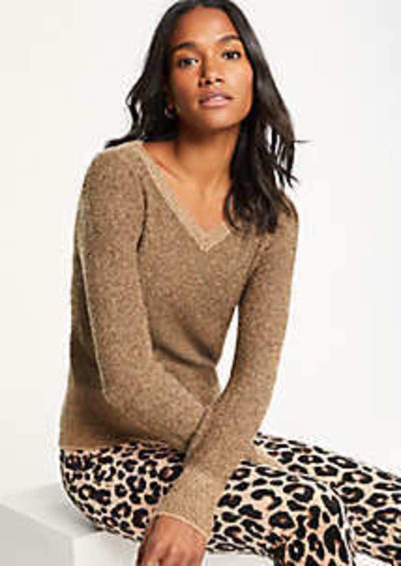 Ann Taylor Shimmer V-Neck Sweater