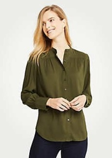Ann Taylor Shirred Button Down Blouse