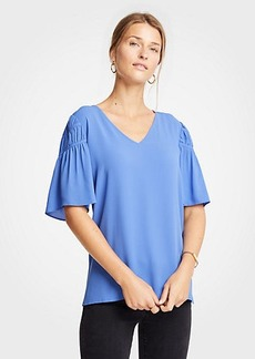 Ann Taylor Shirred Sleeve Top
