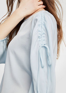 Shirred Tie Sleeve Blouse