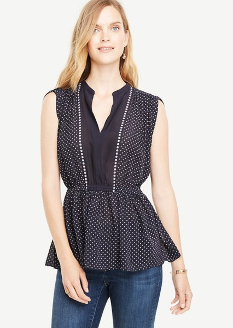 Ann Taylor Shirred Waist Dotted Top