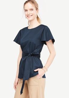 Short Sleeve Tie-Waist Poplin Top