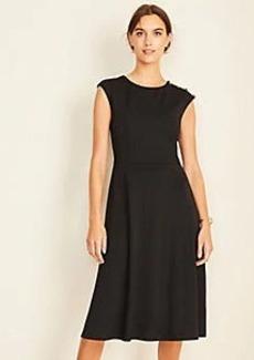 Ann Taylor Shoulder Button Matte Jersey Flare Dress