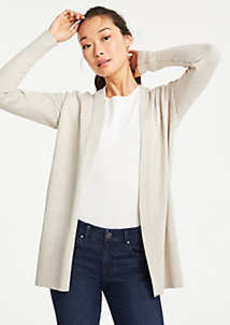 Ann Taylor Side Slit Open Cardigan