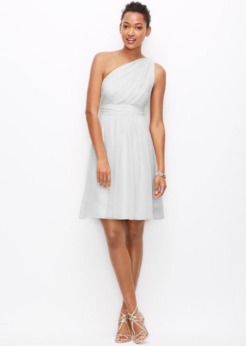 Ann Taylor Silk Georgette One Shoulder Dress