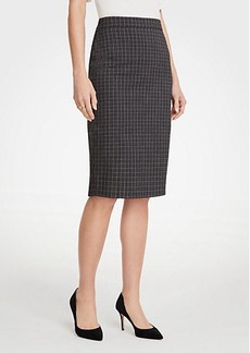 Ann Taylor Sketched Plaid Pencil Skirt