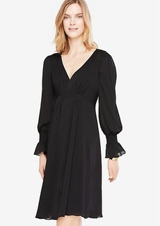 Ann Taylor Smocked Cuff Flare Dress