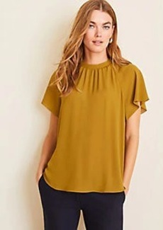 Ann Taylor Smocked Mock Neck Tee