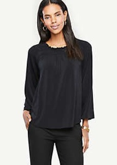 Ann Taylor Smocked Neck Top