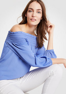 Ann Taylor Smocked Off The Shoulder Blouse