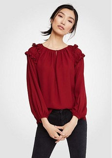 Ann Taylor Smocked Ruffle Top