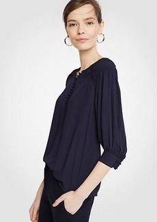 Ann Taylor Smocked Shoulder Blouse