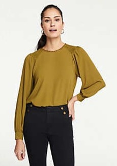 Ann Taylor Smocked Shoulder Scalloped Top