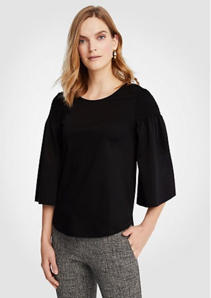 Ann Taylor Smocked Shoulder Tee