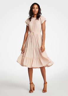 Smocked Tie Waist Ruffle Dress