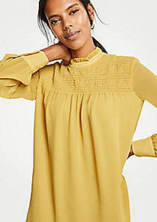Ann Taylor Smocked Yoke Blouse