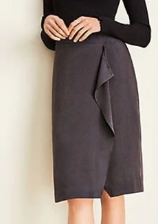 Ann Taylor Snake Print Ruffle Pencil Skirt