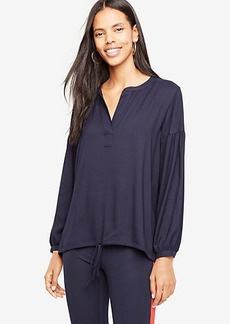 Split Neck Drawstring Top