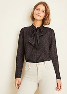 Ann Taylor Spotted Bow Neck Blouse