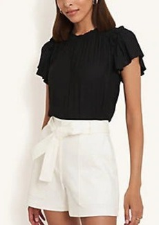 Ann Taylor Spotted Smocked Ruffle Top