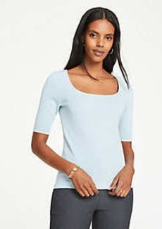 Ann Taylor Square Neck Elbow Sleeve Sweater