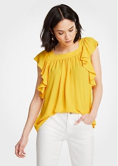 Ann Taylor Square Neck Flutter Sleeve Top
