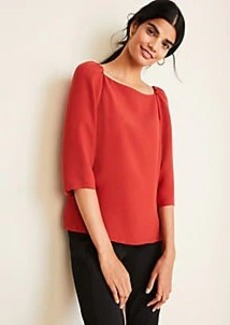 Ann Taylor Square Neck Puff Sleeve Top
