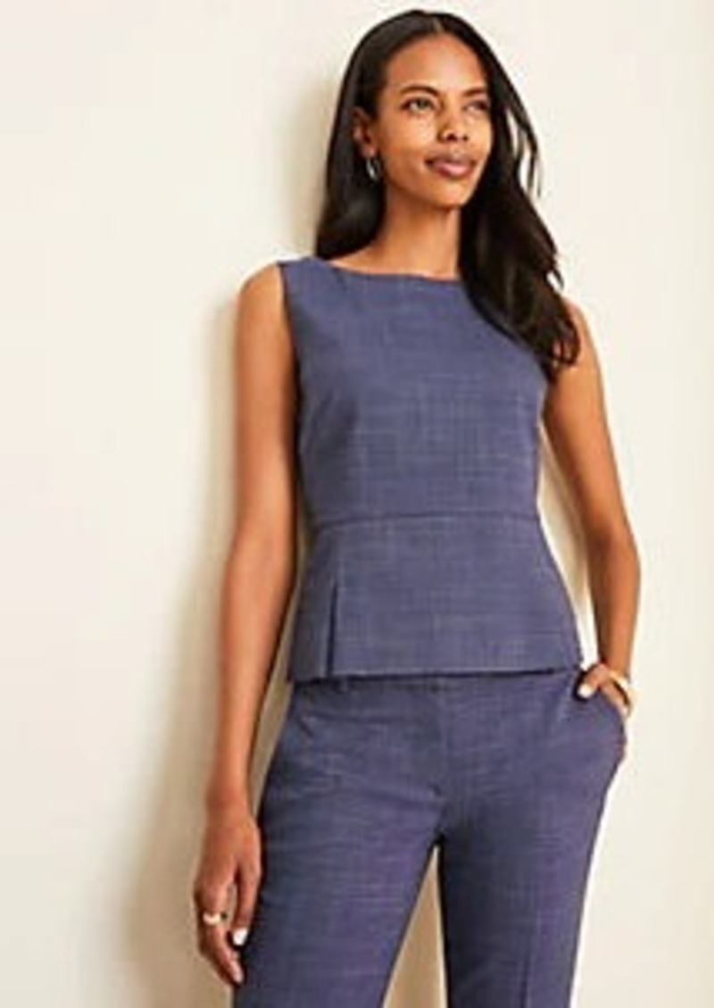 Ann Taylor Square Neck Top in Crosshatch