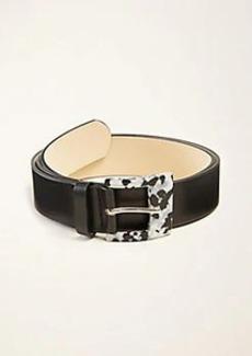 Ann Taylor Square Tortoiseshell Print Buckle Leather Belt