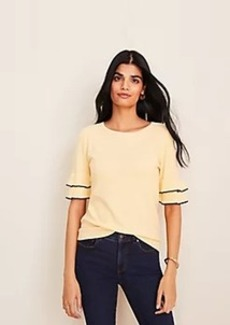 Ann Taylor Stitched Ruffle Sleeve Sweater Tee