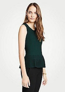 Ann Taylor Stitched Sleeveless Peplum Sweater