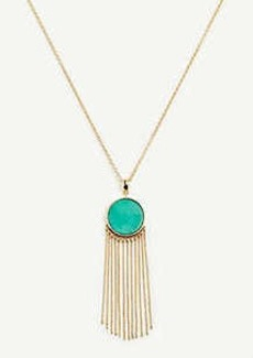 Ann Taylor Stone and Tassel Pendant Necklace