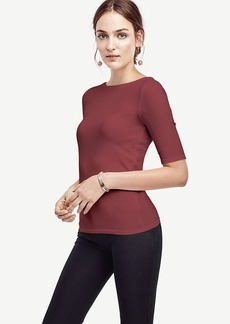 Stretch Cotton Boatneck Tee