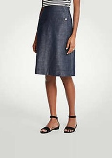 Ann Taylor Stretch Linen Cotton Pocket Skirt