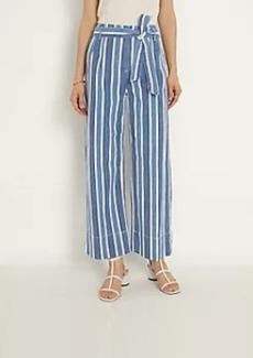Ann Taylor Stripe Belted Wide Leg Jeans in Bright Indigo Wash