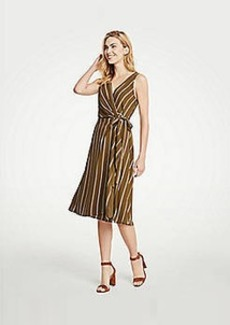Ann Taylor Stripe Belted Wrap Dress