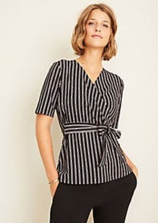 Ann Taylor Stripe Belted Wrap Top
