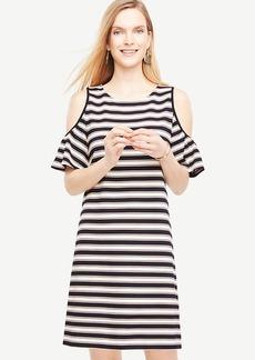 Stripe Cold Shoulder Flutter Sleeve Dress
