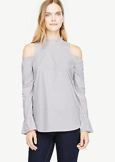 Stripe Cold Shoulder Mock Neck Top