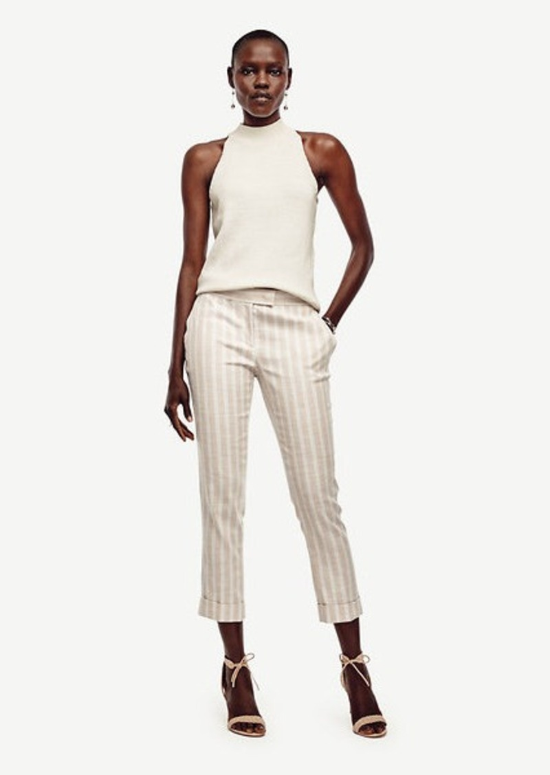 Ann Taylor Stripe Cuffed Everyday Slim Ankle Pants