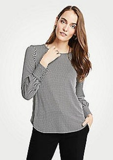 Ann Taylor Stripe Cuffed Top