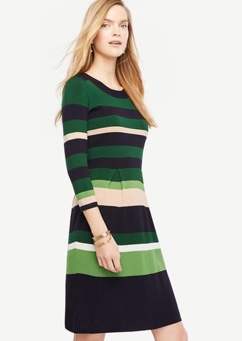 e2701eef054 Ann Taylor Stripe Flare Sweater Dress Now  9.94